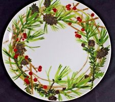 """HALLMARK 8.5"""" Christmas PLATE PINE CONES BERRIES & EVERGREEN Branches Free Ship"""