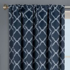 Bh&G Trellis Room Darkening Curtain Panel 52 X 95 Nav