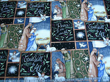 2.3 Yards Cotton Fabric - Springs Susan Winget Christmas Holy Night Nativity Pch