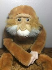 "Animal Alley Bean MONKEY Hanging Plush 22"" Long Brown Tan White Stuffed Animal"