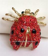 Gold Plated Crystal Ladybug Pin Brooch Red Black Insect Lady Bug USA Seller