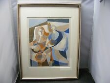 vintage  painting  female musicians gouache by  F.L Walther