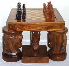 HORSE HEAD CHESS TABLE AND CHAIRS,  BEAUTIFUL, UNIQUE, ONE OF A KIND HAND CARVED