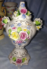 Antique Porcelain Footed Urn Jar Applied Roses with Lid Germany