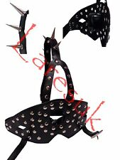 Ring gag with studded mouth shield and spiked strap (G0-20-BLA) FREE UK DELIVERY
