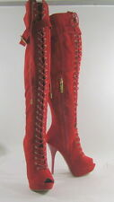 "RED 5.5""high heel open toe front lace up over the knee sexy  boot  Size   6"