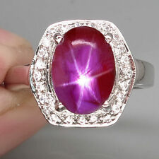 AMAZING! NATURAL 6 RAYS TOP PINKISH RED STAR RUBY MOZAMBIQUE 925 SILVER RING