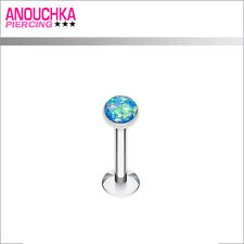 Piercing Labret Cartilage Tragus Opale Scintillante Bleue Collection Prestige