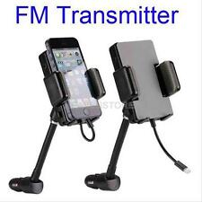 Universal Car Handsfree FM Transmitter + iPhone 5 6 6S USB Charger Mount Holder