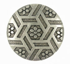ONE GUNMETAL BUTTON WITH HEX AND FLOWER MOTIF, WITH SHANK, 23 MM