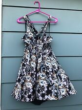 Free People Floral-Print Racerback Dress (black) Size Large Nwts