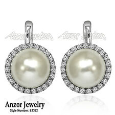 14k Solid White Gold South Sea Pearl and Diamond Russian Earrings #E1362