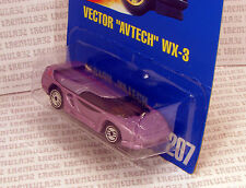 "VECTOR ""AVTECH"" WX-3 SUPERCAR CONCEPT SPORTS CAR #207 BLUE CARD HOT WHEELS"