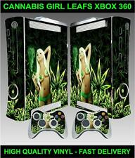 XBOX 360 OLD SHAPE CANNABIS GIRL LEAFS STICKER SKIN & 2 CONTROLLER SKINS
