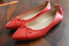 JCREW Gemma Leather Ballet Flats $135 7.5 Shoes rhubarb red e0200 bow shoes