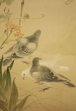"""JAPANESE HANGING SCROLL """"Three Doves and Flowers""""  @u155"""