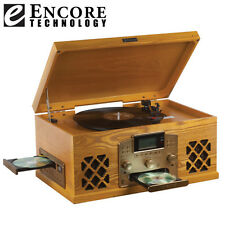 Encore Technology Oak Home Stereo with Turntable, CD, Cassette, and Radio