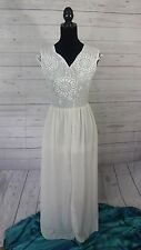 Classic Womens Lace Dress Sheer Lined Small White Cream 70's Vintage Look