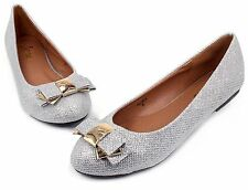 BELINDA Blink Synthetic Bow Slip On Casual Women Flats Office Shoes Silver 10