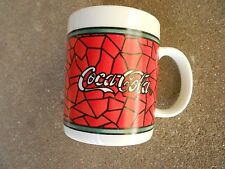 Gibson Coca Cola 8 oz COFFEE CUP/MUG  1996 Stained Glass Border