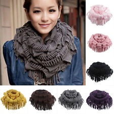 Women Warm Infinity 2 Circle Cable Knit Cowl Neck Long Tassel Scarf Shawl Winter