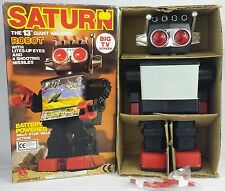 "Vintage SATURN 13"" Battery Operated Space Robot MIB 1981 Kamco Unused Stickers"