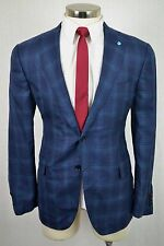40R EIDOS NAPOLI $1295 Men's Navy Blue Check Wool Silk MOD FIT Blazer Sport Coat