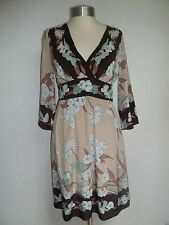 BCBG MAXAZRIA Designer floral PRINT SILK DRESS Spring Summer XS UK 8 10