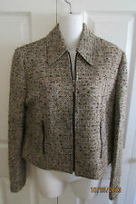 Carlisle Brown Tweed Wool Blend Jacket, Size 8, Brown,gold,off white