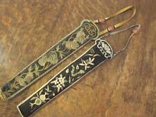 2x antique chinois main brodé soie fan cas