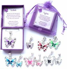 Butterfly Necklace Bridesmaid Gift Bridal Jewellery Flower girl Personalised v1