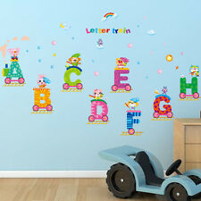 Safari Animals Letters Train Vinyl Removable Wall Sticker Kids Mural Decor Decal