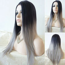 Ladies New Straight Gray Synthetic Wig Ombre Tone Color Black And Grey Full Wigs
