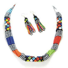 MULTICOLOR ROPE NECKLACE EARRINGS AFRICAN MAASAI BEADWORK BEADED JEWELRY S31/5