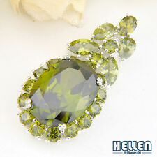 65% OFF Pretty Natural Green Peridot Olive GEMS Fine Silver Necklace Pendant