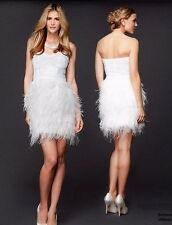 NWT bebe top Dress white sequin bustier strapless mesh isis feather XS 0 2 party