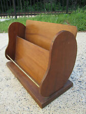 MCM Vintage Kidney Shaped Wood Desk Organizer Letter Holder Rack Stand Unique