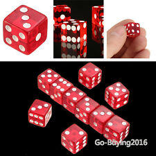 NEW Set of 10 Transparent Red Dice - 12mm White Gaming Dice RPG Right Angle