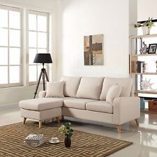 Modern Fabric Small Space Sectional Sofa w/ Reversible Chaise in Beige