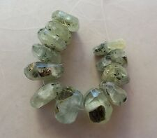 12 Natural Prehnite Gemstone Faceted Chunky Nugget Slice Beads 12mm-15mm