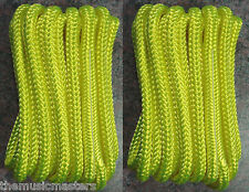 "(2) Yellow Double Braided 3/8"" x 20' ft Boat Marine HQ Dock Lines Mooring Ropes"
