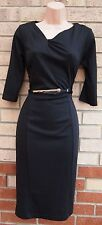 TU BLACK BELTED CROP SLEEVE ELEGANT PARTY BODYCON TUBE PENCIL RARE DRESS 10 S