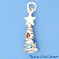 CHRISTMAS TREE 3D 925 Sterling Silver Charm w/ MULTI-COLORED SWAROVSKI CRYSTALS