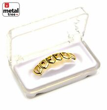 Grillz Solid Fang Six Open Face 14K Gold Plated Teeth Bottom S001 6F G