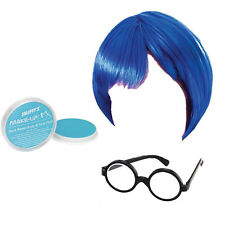 CHILDRENS KIDS GIRLS BLUE INSIDE OUT WIG GLASSES FACE PAINT FANCY DRESS SADNESS