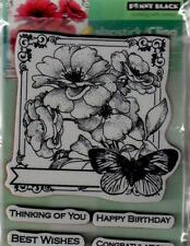 New Cling Penny Black RUBBER STAMP COLLAGE OF WISHES FLOWERS   free us shp
