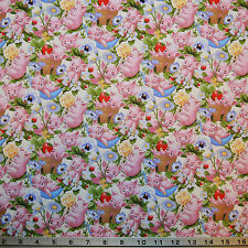 "This Little Pig Cute Pigs Piglets Flowers Cream 100% cotton 44"" fabric x yard"
