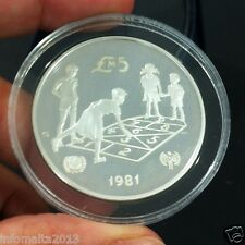 1981 Malta Unicef Silver Proof Commermorative Coin Box #0526