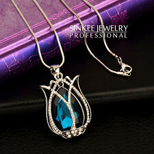 2017 Women Blue Glass Tulip Flower Pendant Long Necklace 18K White Gold GP MY309