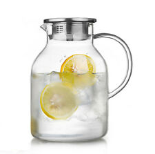 68 Ounces Glass Pitcher with Lid, Water Jug for Hot/Cold Water, Ice Tea,  Juice